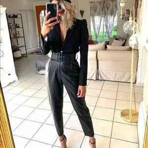 ZARA FAUX LEATHER TROUSERS WITH BELT PANT BLACK